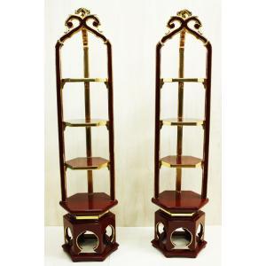 寺院 寺院用 仏具 寺院仏具 木製 純金箔 段盛 若葉型 1対 3尺 butsudansyokunin