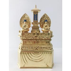 日蓮宗 仏像 純金箔 三宝尊 1.0寸 二仏並坐仏像 お釈迦様 多宝如来 お仏像|butsudansyokunin