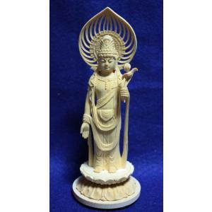 仏像 白木 丸台座 宝珠光背 聖観音 3.0寸|butsudansyokunin