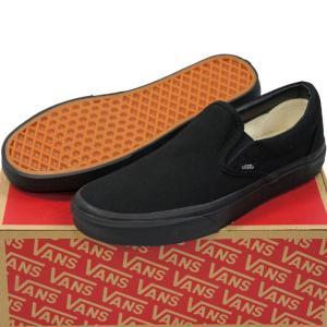 VANS バンズ ヴァンズ Classic Slip-On (Black/Black 23-31cm)スケートボード スケボー クラシック スリッポン キャンバス USA企画 シューズ スニーカー 靴 メン|butterflygarage
