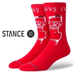 スタンス ソックス 靴下 バスキア Stance Socks Basquiat Cassius Red 限定モデル 1足セット メンズ L 25.5-29.0cm  メンズ ファッション 小物|butterflygarage