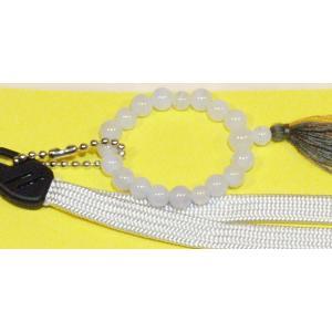 携帯ストラップ数珠カルセドニー|butudan