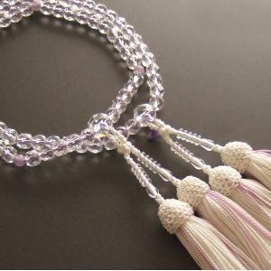 女性用二輪数珠(念珠) 本水晶切子紫石英仕立・白色房|butudan