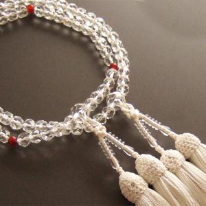 女性用二輪数珠(念珠) 本水晶切子メノウ仕立・白色房|butudan