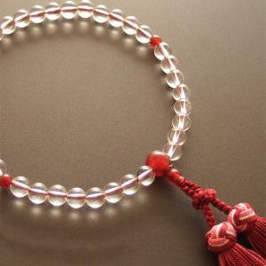 女性用一輪数珠(念珠) 本水晶瑪瑙仕立・銀花かがり房|butudan