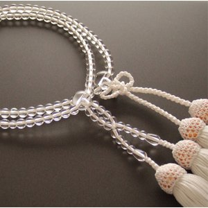 門徒(浄土真宗・真宗)用数珠 八寸 本水晶 共仕立 白房|butudan