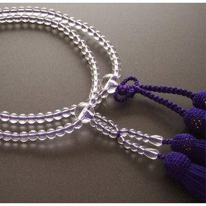 門徒(浄土真宗・真宗)用数珠 八寸 本水晶 共仕立 紫房|butudan