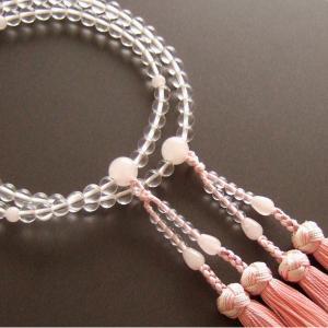 女性用二輪数珠(念珠) 本水晶紅水晶仕立・銀花かがり房|butudan