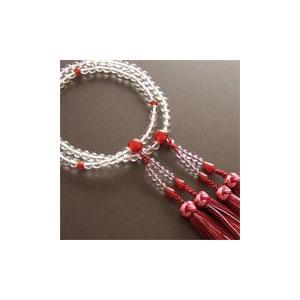 女性用二輪数珠(念珠) 本水晶瑪瑙仕立・銀花かがり房|butudan
