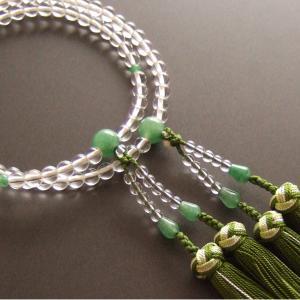 女性用二輪数珠(念珠) 本水晶翡翠仕立・銀花かがり房|butudan