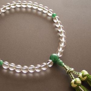 女性用一輪数珠(念珠) 本水晶翡翠仕立・銀花かがり房|butudan