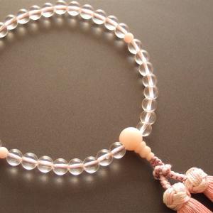 女性用一輪数珠(念珠) 本水晶紅水晶仕立・銀花かがり房|butudan