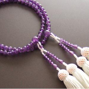 女性用二輪数珠(念珠) 紫水晶・白色房|butudan
