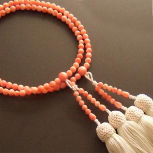 女性用二輪数珠(念珠) 深海珊瑚・白色房|butudan
