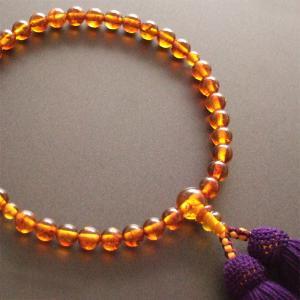 女性用一輪数珠(念珠) コハク紫紺色房|butudan