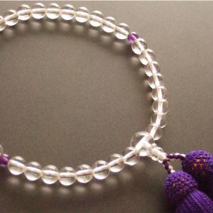 女性用一輪数珠(念珠) 本水晶紫水晶仕立紫色房|butudan