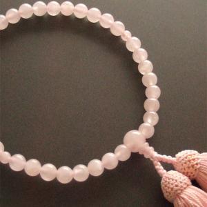 女性用一輪数珠(念珠) 紅水晶薄桃色房|butudan