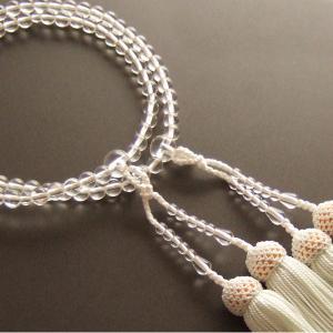 女性用二輪数珠(念珠) 本水晶丸玉・白色房|butudan