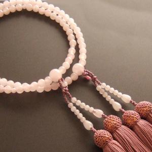 女性用二輪数珠(念珠) 紅水晶丸玉灰桜色房|butudan