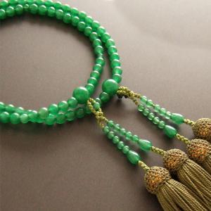 女性用二輪数珠(念珠) アベンチリン丸玉緑色房|butudan