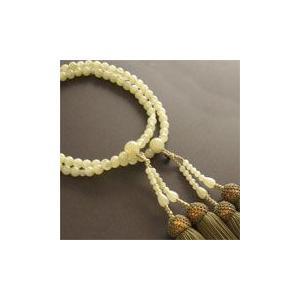 女性用二輪数珠(念珠) グリーンオニキス丸玉鶯色房|butudan