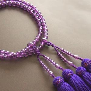 女性用二輪数珠(念珠) 紫水晶・紫色房|butudan