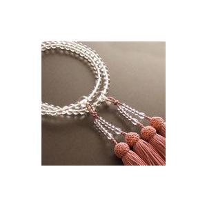 女性用二輪数珠(念珠) 本水晶丸玉灰桜色房|butudan