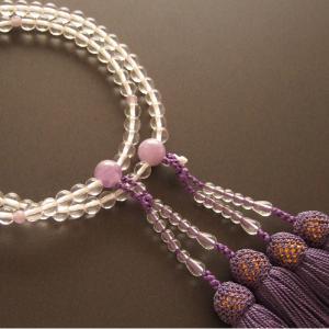 女性用二輪数珠(念珠) 本水晶丸玉藤雲石仕立藤色房|butudan