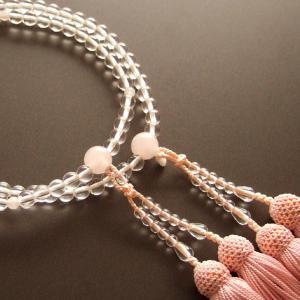 女性用二輪数珠(念珠) 本水晶丸玉紅水晶仕立薄桃色房|butudan