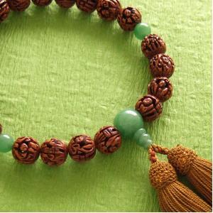 男性用一輪数珠(念珠) 羅漢彫アベンチリン仕立浜梨色房|butudan