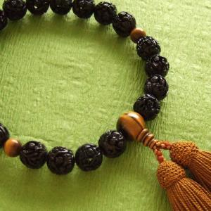 男性用一輪数珠(念珠) 黒羅漢彫虎目仕立浜梨色房|butudan