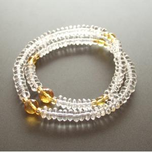 腕輪数珠(念珠) 水晶108玉 黄水晶切子仕立|butudan