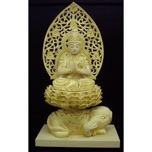 普賢菩薩仏像 淡彩切金総柘植 1.5寸|butudanya