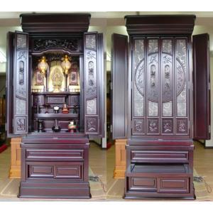 大型唐木仏壇「福山」・高級彫り・内蔵式経机|butudanya