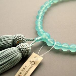京都数珠製造卸組合・女性用数珠・シーブルーカルセドニー・正絹頭房付|butudanya