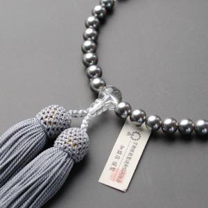 京都数珠製造卸組合・女性用数珠・黒貝パール・正絹頭房付・ネコポス送料無料|butudanya