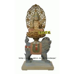 文殊菩薩仏像 淡彩切金総桧 30センチ|butudanya