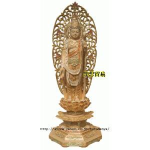 正観音立像仏像 淡彩切金総桧 高級彫り八角唐草光背30センチ|butudanya