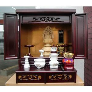 小型仏壇ロイヤル・内蔵式経机・中段取り出し可・高級桐材|butudanya