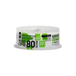 VERTEX CD-R(Audio) 80分 20P スピンドル インクジェットプリンタ対応(ホワイト) 20CDRA80VX.WPSP|buzzhobby