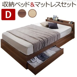 フロアベッド ベッド下収納 敷布団でも使えるベッド 〔アレン〕 ダブル ポケットコイルスプリングマットレス付き セット|buzzhobby