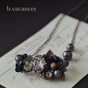 ネックレス│ バラの香りシリーズ (スワロフスキーエレメント:ブラックダイヤモンド) / 薔薇のネックレス|bvacances