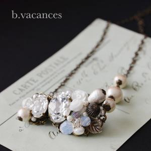 ネックレス│ バラの香りシリーズ (スワロフスキーエレメント:クリスタル) / 薔薇のネックレス|bvacances