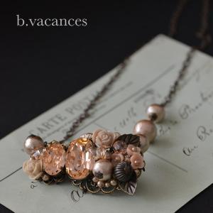 ネックレス│ バラの香りシリーズ (スワロフスキーエレメント:ライトピーチ) / 薔薇のネックレス|bvacances