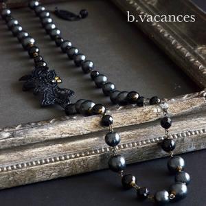 コットンパールのネックレス│ レースシリーズ:プチレース×オニキスのネックレス(黒)|bvacances