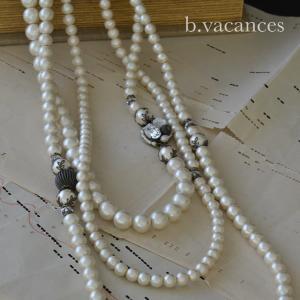 コットンパールのネックレス│ コットンパールの三連ネックレス (ロングネックレス)|bvacances