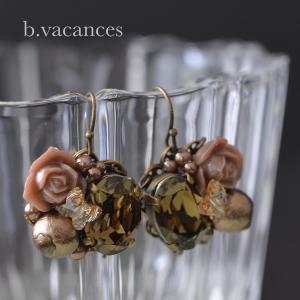 ピアス&イヤリング│ バラの香りシリーズ (スワロフスキーエレメント:スモーキークォーツ) / 薔薇のピアス・イヤリング|bvacances