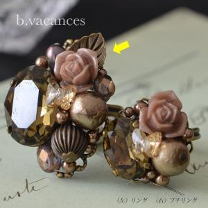 リング│ バラの香りシリーズ (スワロフスキーエレメント:スモーキークォーツ) / 薔薇のリング|bvacances