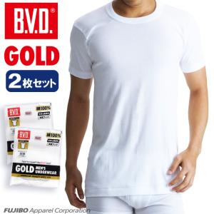 丸首半袖Tシャツ BVD  2枚セット GOLD アンダーウェア/綿100%/インナー...