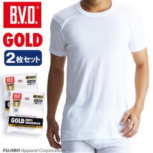 4Lサイズ BVD  2枚セット丸首半袖Tシャツ GOLD アンダーウェア/綿100%/インナー bvd